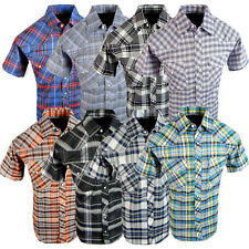 Mens Short Sleeve Plaid Shirt Casual Country Snap Western Pockets Many Colors 1