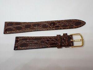 "Vintage JB CHAMPION Men's CROCODILE CALF Watch Band 6 1/2"" NOS 18 mm brown"