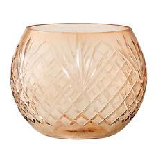 Bloomingville Teelichthalter - Windlicht Glas geschliffen braun
