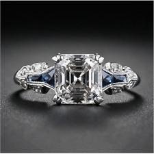 Women Vintage Jewelry 925 Silver Ring Princess Cut White Sapphire Bridal Wedding