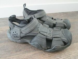 Crocs Swiftwater Fisherman Black Leather Sandals 204562 Men's Size 11