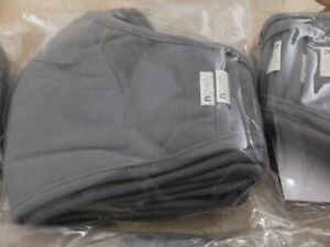 5 Pack Fabric Face Masks 3 layers Reusable Washable, Gray Black Navy, 65%Poly