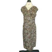 Evan Picone Dress Leopard  Womens Size 10 Animal Sleeveless Brown Black Stretch