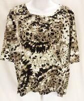 JONES NEW YORK Blouse Women's XL Cheetah Print Short Sleeve Shirt 100% Cotton