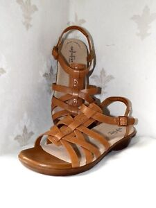 """CLARKS """"LOOMIS KATEY"""" LADIES SANDALS, TAN LEATHER, UK 6E WIDE FIT, VERY GOOD"""