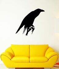 Wall Decal Black Crow Bird Feathers Beak Wings Rook Vinyl Stickers (ed270)
