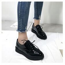 Women Platform Lace Up Oxfords Hidden Heels Round Toe Black Brogues Shoes Loafer