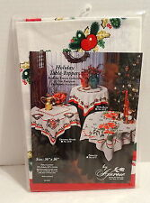 "Amrose Holly Berry Holiday Table Topper.36"" x 36"" Square.Made in Poland.Nip"