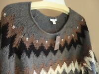 J Jill S L Thick Knit Sweater Cotton Zig Zag Gray Charcoal Multi Pullover NWT