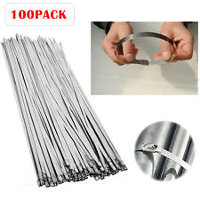 "100 Pcs 304 Stainless Steel 12"" Exhaust Wrap Coated Metal Locking Cable Zip Ties"