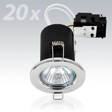 20 X MiniSun Chrome Fire Rated Gu10 Recessed Ceiling Light Spotlights Downlights