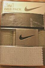 Nike Golf 3 In1 Web Belt Pack Black/Olive Green/Silver Belts Fits Up To Size 42