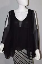 Boston Proper Casual Long Sleeve Blouse Polyester solid black 10