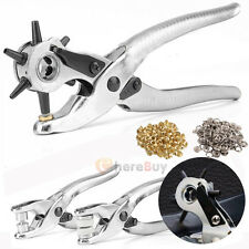 3pcs Leather Belt Hole Punch + Eyelet Plier +Snap Button Grommet Setter Tool Kit