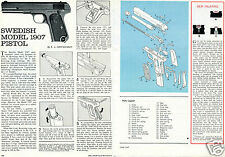 1967 Swedish Model 1907 Pistol 2 Page Print Article Parts List Takedown