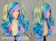 Cosplay Lolita Multi-Color Curly With Two Ponytails Wig/Wigs + Wig cap NO:214