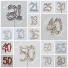 Cake Pick Number Toppers Rhinestone Diamante GEMS Clear Silver Gold 18 21 30 40