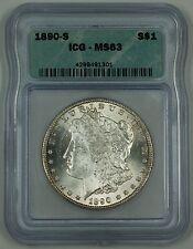 1890-S Morgan Silver Dollar $1 Coin, ICG MS-63, Choice, AH
