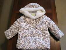 New NWT Carter Girl Leopard Print Puffer Winter Coat Hood Faux Fur Size 4 Warm