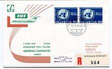FFC 1970 LOT First Flight Geneve Varsovie REGISTERED Helvetia Pologne