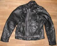 SUPER: Motorrad- LEDERJACKE / Biker- Jacke für Herren in schwarz ca. Gr. 48/50