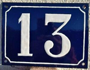 """Ancienne plaque émaillé/numéro de rue,maison.. """"13 """""""