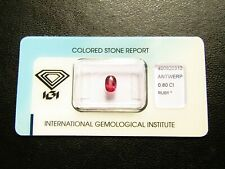 IGI Certified 0.80ct Oval Cut Transparent Unheated Natural Pink- Red Ruby.
