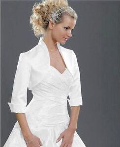 New Women Wedding Satin Bolero Shrug Bridal Prom Jacket Lace 3/4 Sleeve S-5XL