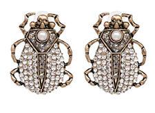 NEW Skull Beetle Insect Large Vintage Rhinestone Imitation Pearl  Stud Earrings
