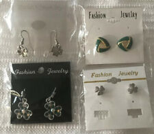Patrick Day Earrings- Green Set Of Four Shamrock Jewelry - New