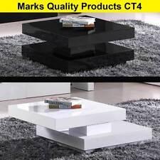 Coffee Table White Black Modern Style Unique Sliding Top Polyurethane Finish CT4