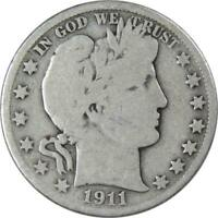 1911 D 50c Barber Silver Half Dollar US Coin Average Circulated