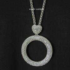 tolle Halskette Modeschmuck Lagenlook Anhänger Strasssteine + Kette silbern