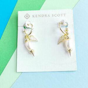 Demi Kendra Scott White Baroque Pearl Gold Huggie Earrings Set