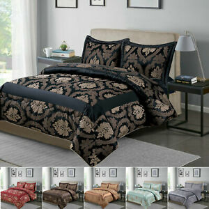 Luxury 3 PCs Quilted Bedspread Damask Bedding Set Double King Size Bed Throw Set