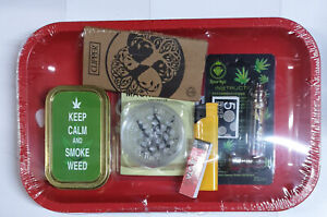 Smokers Deluxe Rolling tray - Silver Papers - Pipe - Tin - Tips - Grinder + more