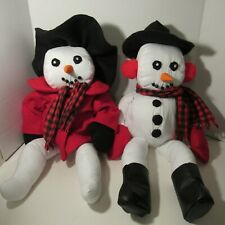 Handmade Mr. and Mrs. Snowman Dolls for Christmas Holiday Season