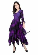 Dark Star Gothic Medieval Long Dress Purple Tie Dye Web Lace Corset Front