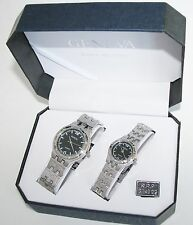 GENEVA SILVER TONE STEEL TEXTURED BAND+BLACK DIAL 2,TWO PIECE HIS+HER WATCH SET