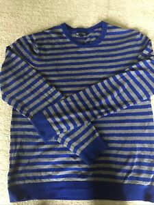 Gap Ladies Crew Neck Jumper Get & Blue Stripes Size L VGC