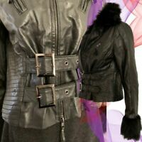 Derhy Leather Jacket Aviator Bomber Biker Leather Goat Nappa Raccoon Fur M 12 14