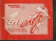 (42) REVUE TECHNIQUE MANUEL ATELIER MOTO HONDA CR125R de 1990