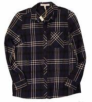 BCBGeneration Women's  Button Up Deep Blue Plaid Flannel Long Sleeve Shirt Sz M