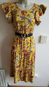 New Stunning Stradivarius Yellow Floral Size L 12-14 Midi Dress Tiered Smock Tea