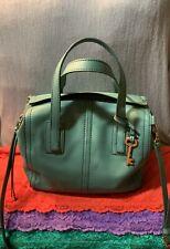 Fossil Emma Teal Green Leather Zip Shoulder Bag Crossbody Handbag Satchel