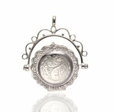 """925 Sterling Silver Fancy Engraved Spinner Locket - 18"""" Chain."""