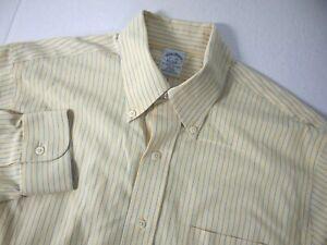 Brooks Brothers Mens Dress Shirt 15 1/2 33 Slim Fit Yellow Blue Striped Supima
