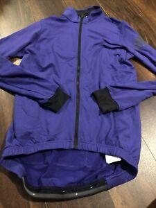 New Adidas Mens ClimaHeat J LS Cycling Light Jacket Size Small Purple Black