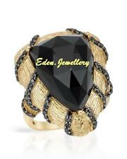 $540 FPJ Stuning Ring Onyx Black Zirconia 14K/925 Gold Plated Silver 50% OFF