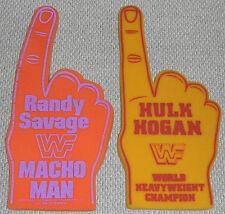 Vintage WWF HULK HOGAN & RANDY MACHO MAN SAVAGE Foam FINGERS WCW WWE Wrestling